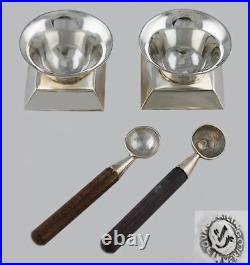 Spratling Sterling Silver Wood Salt Spoons Cellars
