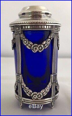 Sterling Cobalt Blue Glass Salt Shaker Floral Swag Spain 5 Pt Star+Signature! #2