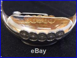 Sterling Signed Norway Viking Ship Salt Cellar 925 With Glass Insert & Spoon