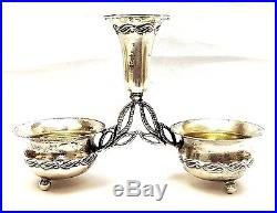 Sterling Silver Beautiful Vintage Salt and Pepper Holder Small Cellar