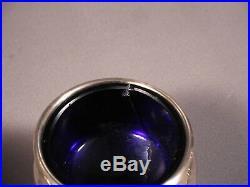 Sterling Silver Cobalt Blue Glass Salt Cellars SET by Birks UNUSUAL