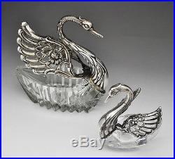 Sterling Silver Hinged Swans Salt Cellar Figural Mother & Child