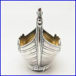 Sterling Silver Norway TH OLSENS Eftf 925S Viking Ship Salt Cellar
