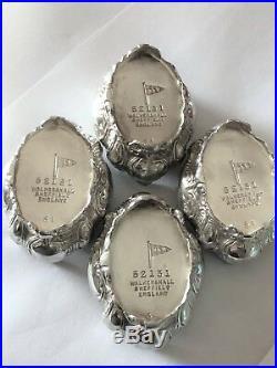 Sterling Silver Salt Cellars 4 Walker & Hall Chester 1907
