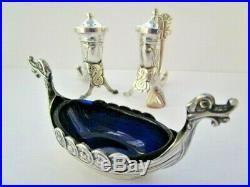 Sterling Silver Viking Horn Salt & Pepper Set & Open Salt Cellar