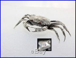 Sterling Silver Zodiac Crustacean Crab Salt Dip Cellar w Hinged Lid Snuff Box