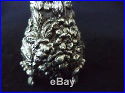 Sterling silver salt cellar pepper shaker Stieff Rose repousse hand chased #12