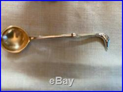 Sterling silver swan salt with swan spoon