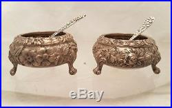 Stieff Pair of Sterling Open Salts With Spoon