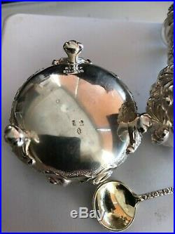 Stieff Rose Sterling Silver Pepper Shaker, Open Salt Cellar, Spoon NO MONOGRAMS