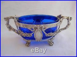 Superb Antique French Sterling Silver, Blue Crystal Salt Cellar, Set Of 2, Late XIX