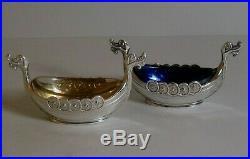THEODOR OLSENS Sterling Silver Viking Ship Salt & Pepper Cellars Norway Vintage