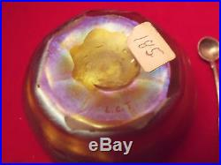 TIFFANY FAVRILE GLASS OPEN SALT CELLAR. SIGNED L. C. T. With SILVER SPOON SIGNED