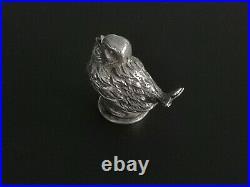 TOP QUALITY Solid Silver Novelty Salt Cellar Pot Shaker Chicken Bird Chick