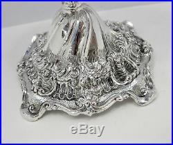 Tall 925 Sterling Silver & Blue Glass Insert Leaf Applique Standing Salt Holder