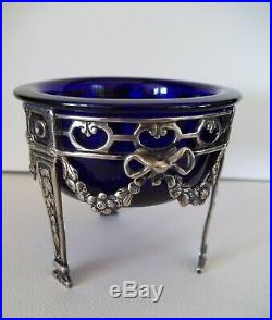 Tall open salt sterling silver cobalt blue glass insert 3 star mark French