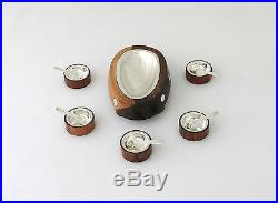 Taxco Mexico Sterling Silver & Rosewood Dish with Matching Salt Cellars Spoons