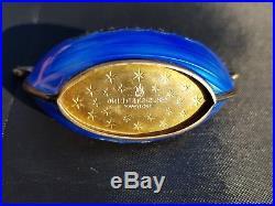 Theodor Olsen Norway Sterling Silver Blue Enamel Viking Boat Salt Cellar Vintage