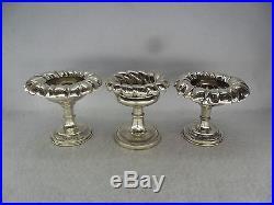 Three Austro-Hungarian c. 1835 Solid Silver Pedestal Salt Cellars