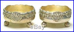 Tiffany 3246 6259 Sterling Silver Pair Shell & Thread SALT CELLARS Ball feet