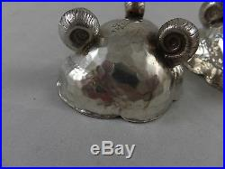 Tiffany Aesthetic Hammered Shell Shaped Sterling Salt Cellers Japanese 1880's