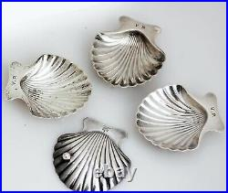 Tiffany & Co Sterling Silver Shell Open Salt Cellars Dishes 4 Pieces 146grams