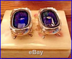 Tiffany & Company England Sterling SIlver. 925 & Cobalt Blue Salt Cellar pair
