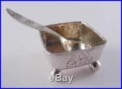 Tiffany Sterling Hammered Aesthetic Salt & Spoon Set Oak Leaf Engraved Look