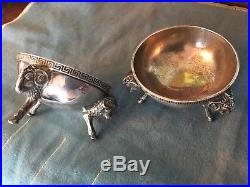 Tiffany & co Antique sterling silver John C Moore figural footed Open Salts 1857