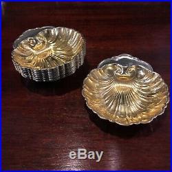 Twelve (12) Gorham Sterling Silver Gilt Washed Shell Form Salts or Butter Dish