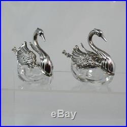 Two Albert Bodemer Sterling Silver SWAN Salt Cellars & CHERUB Salt Spoons