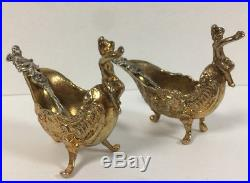 Two Antique Cartier Sterling Silver and Gold Plated Art Nouveau Salt Cellars