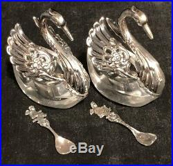 Two Swan Salt Cellars Sterling Silver with Glass and Spoons Wings Open