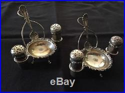Unique Pair of Wallace Sterling Silver Salt Cellars with Matching Peppers
