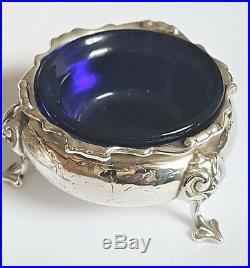 VICTORIAN PAIR Antique SOLID SILVER Cauldron Table Salt Cellar Pots +LINERS 1858