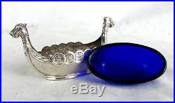 VIKING STERLING SALT CELLAR & PEPPER LONG SHIP & DRINKING HORN w SPOON c. 1930'S