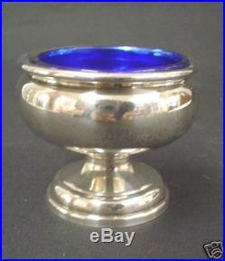 VINTAGE STERLING SILVER Pedestal SALT CELLAR Cobalt Liner