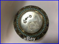 Very RARE imperial Russian Enamel Silver Salt Cellar 916 SILVER 19th century