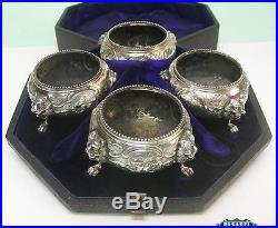 Victorian 4 Sterling Silver Salts Cased Set Richards & Brown London England 1878