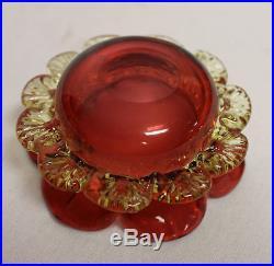Victorian Cranberry Glass open Master Salt Cellar and Sterling holder