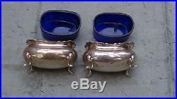 Victorian English Sterling Salt Sellars Large Cobalt Blue Inserts Circa 1901