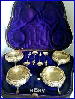 Victorian Open Salts Antique Salt Cellars English Sterling 1800's Hallmarked