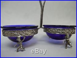 Victorian silver salt cellar cherubs/ cobalt blue bowls/sterling silver spoons