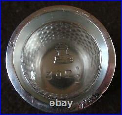 Vintage 925 Sterling Silver Mustard Pot Salt Cellar Openwork Lattice Spoon D154