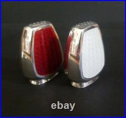 Vintage A. MICHELSON Danish Sterling Silver Enamel Salt Cellar Spoon Shaker Set