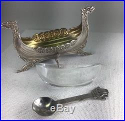 Vintage Brodrene Lohne 830 Sterling Silver Viking Ship Salt Cellar & Spoon