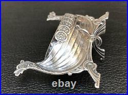 Vintage Brodrene Lohne 830s Silver Salt Cellar Viking Ship Glass Insert & Spoon