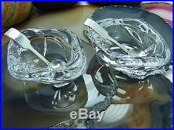 Vintage Cartier Open Salt Sterling Silver & Crystal Cellars Presentation Box