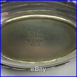 Vintage Denmark Sterling Silver Enamel Viking Ship Salt Cellar & Matching Spoon