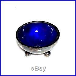 Vintage Georg Jensen Dessin HN 433-A Sterling Silver Blue Enamel Salt Cellar